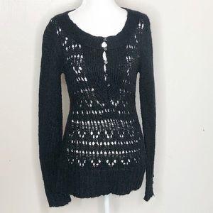 BKE Sweaters - BKE Black Open Knit Sweater C10